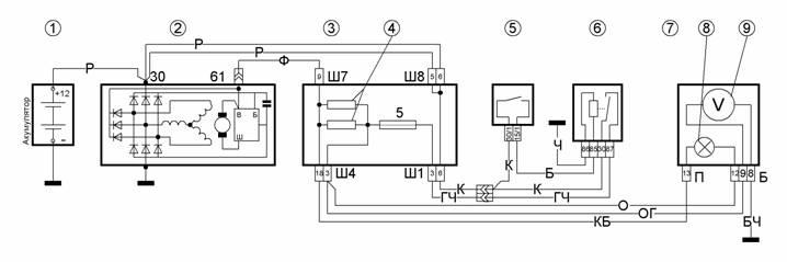 Схема генератора ваз 2109